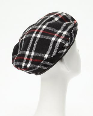 ブラック スタンドタイプ 起毛チェックベレー帽見る