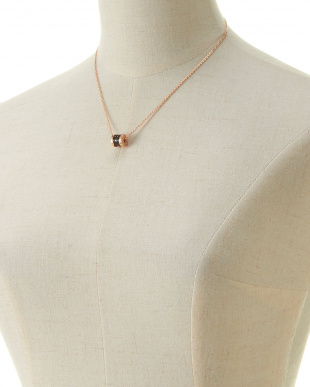 ピンクゴールド  ブラック使い ネックレス&ピアスセット見る
