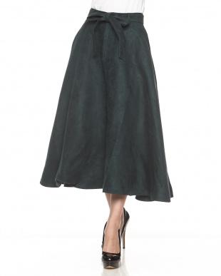 グリーン  フレアロングスカート見る