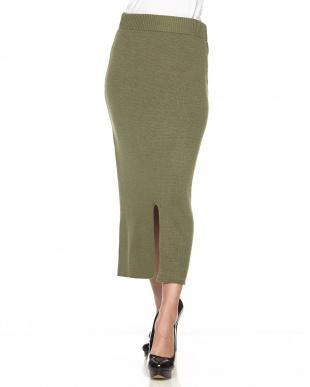 グリーン  ニットペンシルタイトスカート見る