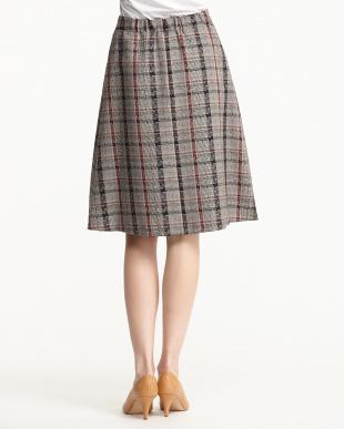ベージュ  パッチワークAラインスカート見る