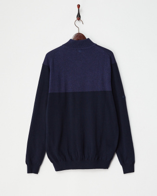 NAVY  KNIGHT LINED SWEATER見る