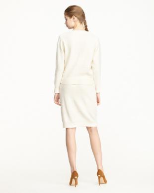 WHITE LT クルーネックニット+腰巻き風デザインスカート見る