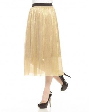 ゴールドミッド シャイニーギャザースカート見る