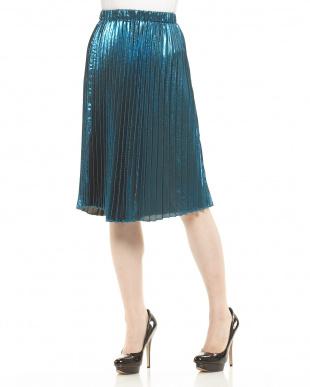 BLUE LT  シャイニープリーツスカート見る