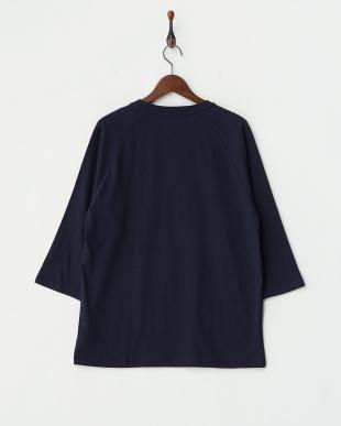 ネイビー 7分袖Tシャツ ボタニカル スカル見る
