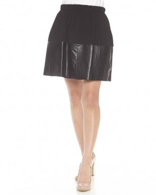 ブラック レザー切り替えスカート見る