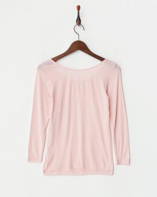 グレイッシュピンク  ヒートエディット 吸湿発熱 保湿機能 8分袖シャツ見る