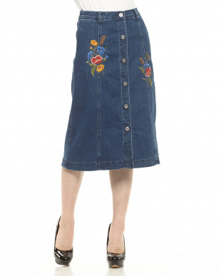 USED 加工 デニム刺繍スカート見る
