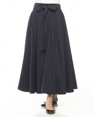 ボルドー リボン付きフレアスカート見る