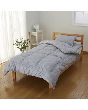 シルバーグレー  ライン柄 シングルロング布団 3点セット(掛けふとん+敷きふとん+枕)見る