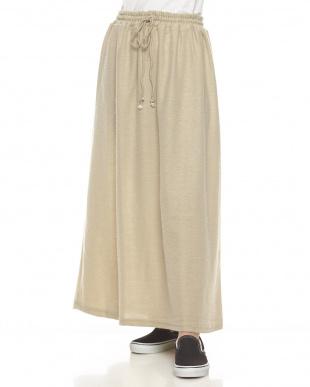 ベージュ プレーンニットスカート見る