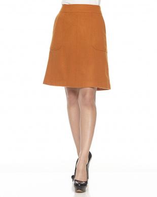 マスタードオレンジ ウール混 ボックススカート見る