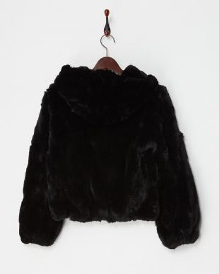 ブラック  レッキスファー フード付きジャケット見る