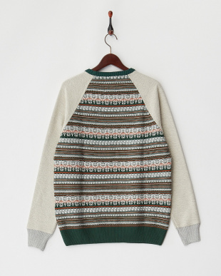 VIRIDIS 柄切り替えクルーネックセーター見る