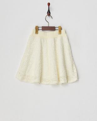 ホワイト  レースフレアスカート見る