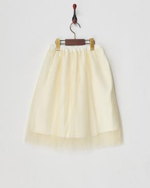 アイボリー チュールプリーツスカート見る