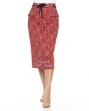 レッド ペイズリーパターンタイトスカート見る