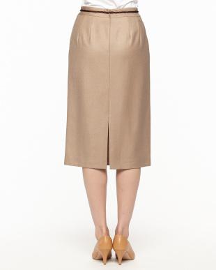 ベージュ  ウール混スカート見る