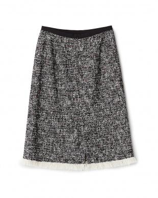 ブラック  ネップツイードタイトスカート見る