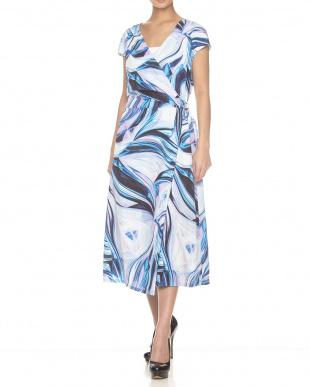 ブルー  ベルト風Vネックラップドレス見る