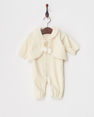 エクリュ(キナリ) オーガニックベロアベスト付兼用ドレス|BABY見る