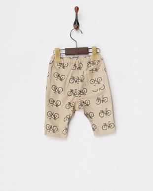 ベージュ  8分丈自転車柄サルエルパンツ見る