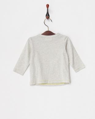 ライトグレー 編みモチーフ長袖Tシャツ見る