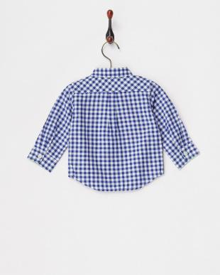ブルー ギンガムチェックシャツ見る