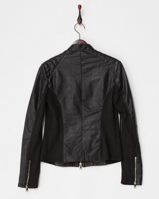 ブラック  スタンド衿 イタリアンフィットラムジャケット見る