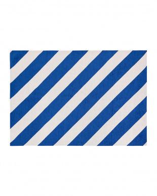 ブルー  ストライプラグ 140×200見る