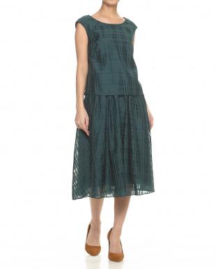 グリーン  ブラウス×スカート シアーチェックセットアップ見る