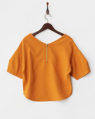 オレンジ 花柄刺繍ボリュームスリーブトップス見る