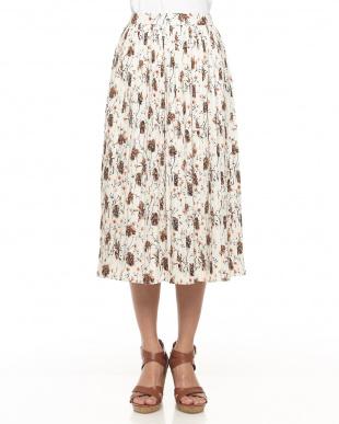 シロ  花柄プリーツロング丈スカート見る