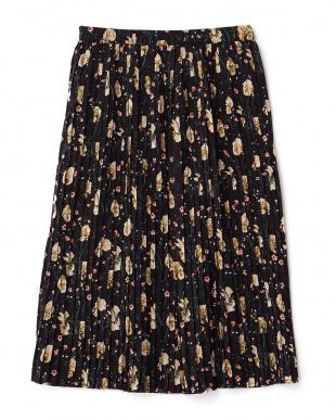 クロ  花柄プリーツロング丈スカート見る