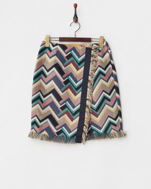 ブルー系  幾何学柄ラップ風スカート見る