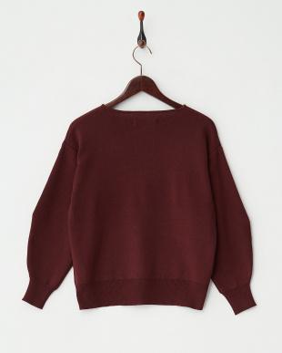 BURGUNDY ワイドスリーブクルーネックセーター見る