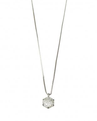 Pt 純プラチナ 天然ダイヤモンド 大粒0.5ctアップ 6本爪ネックレス見る