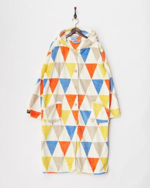 オレンジ  プレミアムマイクロファイバー着る毛布 フード付(ルームウェア)フラッグ柄見る