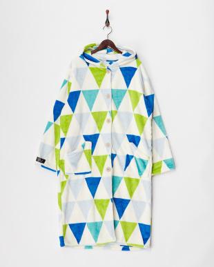 グリーン  プレミアムマイクロファイバー着る毛布 フード付(ルームウェア)フラッグ柄見る