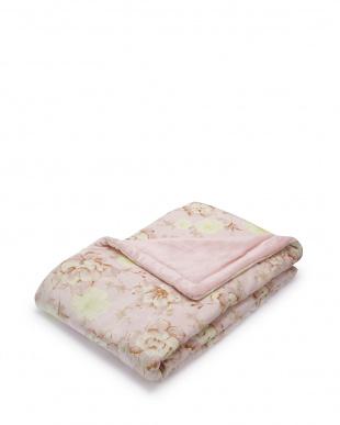 ピンク  花柄 マイヤー合わせわた入り毛布 140×200cm見る