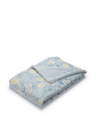 ブルー  花柄 マイヤー合わせわた入り毛布 140×200cm見る