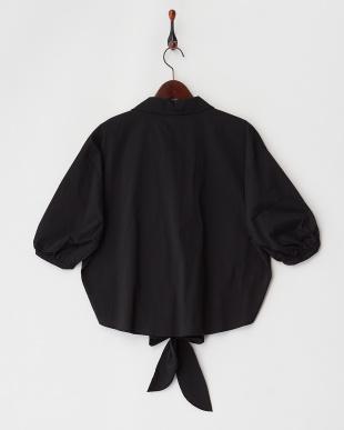 ブラック  ドロップショルダーリボンシャツ見る