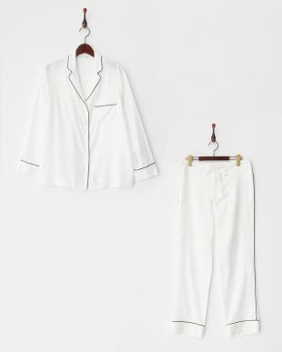 WHITE×PIPING BLACK パジャマセット(長袖開襟・細衿パジャマシャツ&パンツ) BOX入り|WOMEN見る