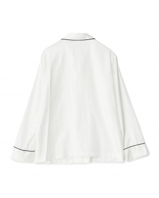 WHITE×PIPING BLACK 長袖パジャマシャツ/コットンポリエステル|WOMEN見る