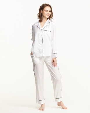 WHITE×PIPING BLACK パジャマセット(長袖開衿パジャマシャツ&パンツ)BOX入り/コットンポリエステル|WOME見る