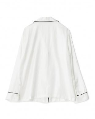 WHITE×PIPING BLACK 長袖開衿パジャマシャツ/コットンポリエステル|WOMEN見る
