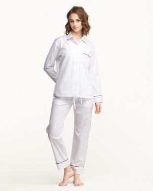 WHITE×PIPING BLACK パジャマセット(長袖パジャマシャツ&パンツ)BOX入り|WOMEN見る
