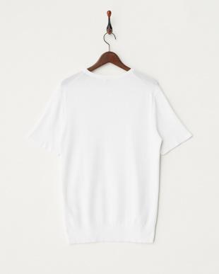 ホワイト コットンニットTシャツ見る