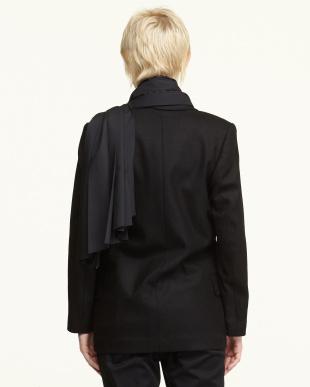 ブラック 布帛ストール付きテーラードジャケット見る